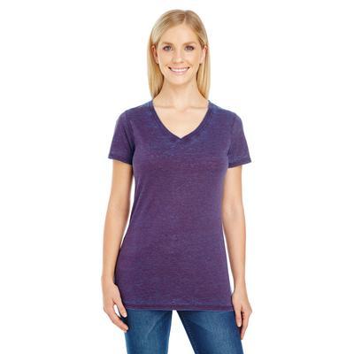 Threadfast Apparel 215B Women's Cross Dye Short-Sleeve V-Neck T-Shirt in Berry size Large   Cotton/Polyester Blend