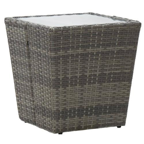 vidaXL Beistelltisch Grau 41,5×41,5×43 cm Poly Rattan und Hartglas