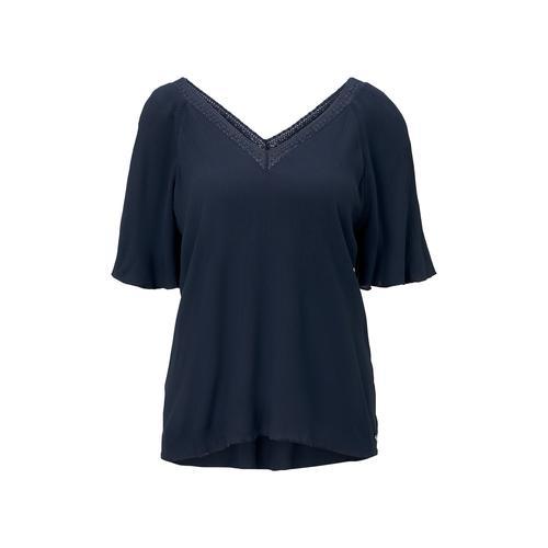 TOM TAILOR DENIM Damen Bluse aus Viskose-Crêpe in A-Shape, blau, Gr.XS