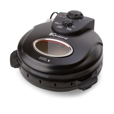 Euro Cuisine 12 in. Black Electric Oven Pizza Maker with Lid