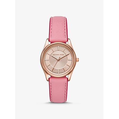 Michael Kors Colette Rose Gold-Tone And Leather Watch Pink ONE SIZE