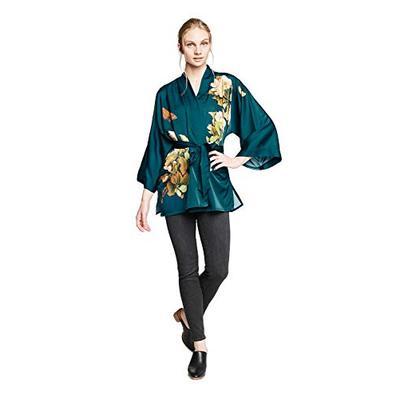 KIM+ONO Charmeuse Kimono Jacket - Peony & Butterfly - Vintage Teal (Blue)