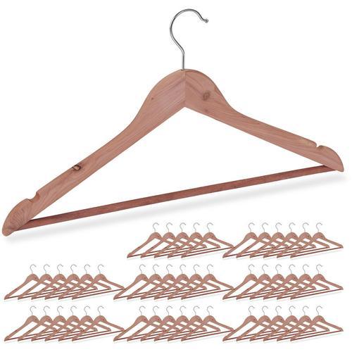 Relaxdays - 48 x Kleiderbügel Zedernholz, Mottenschutz im Kleiderschrank, edles Design, eingekerbt,