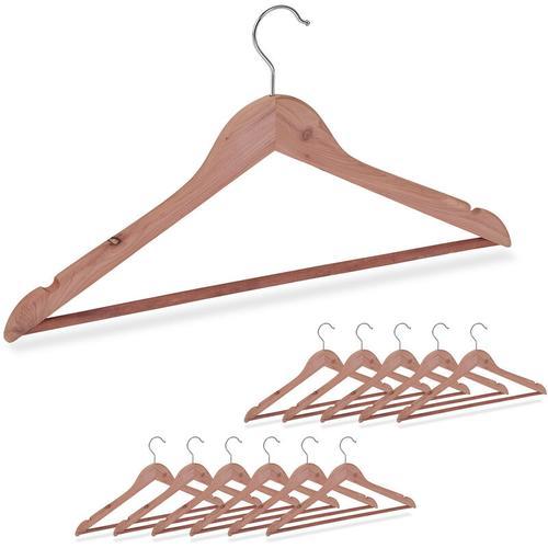 12 x Kleiderbügel Zedernholz, Mottenschutz im Kleiderschrank, edles Design, eingekerbt, B: 44 cm,