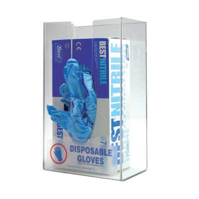 Accuform Signs HDH116 Single Glove Box Dispenser w/ Standard Label - Plastic, Clear