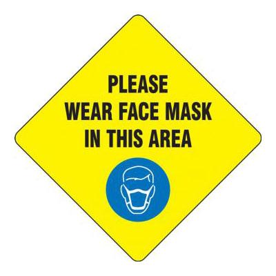 """Accuform Signs MFS432 17"""" """"Please Wear a Face Mask"""" Floor Sign - Laminated Adhesive Vinyl, Yellow"""