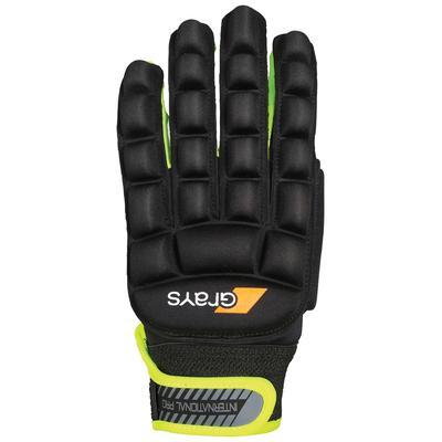 Grays International Pro Field Hockey Gloves - Right Hand Black/Neon Yellow