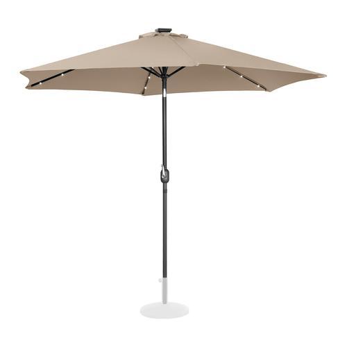 Uniprodo Sonnenschirm mit LED - creme - rund - Ø 300 cm - neigbar