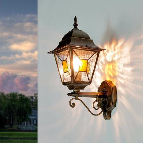 Licht-erlebnisse - Rustikale Außenleuchte SALZBURG Laterne Ornamentglas