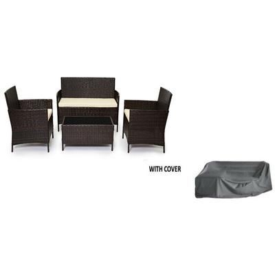 Rattan Outdoor Garden Madrid Furniture Set Conservatory Patio Lounge - Brown with Cover - Evre