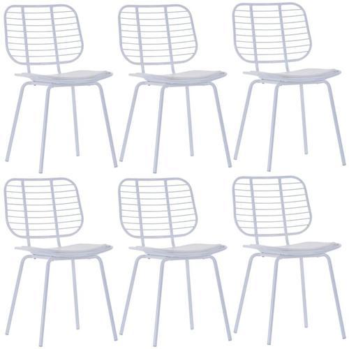 Vidaxl - Esszimmerstühle mit Kunstledersitzen Stahl 6 Stk. Weiß