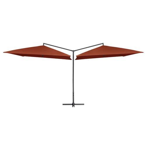 vidaXL Doppelsonnenschirm mit Stahlmast 250×250 cm Terracotta-Rot