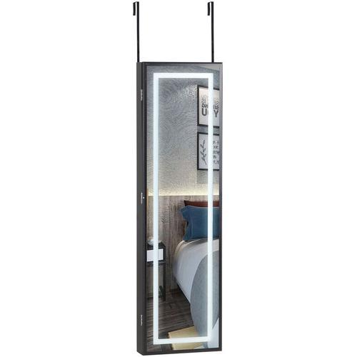 Schmuckschrank Schmuckständer hängend für Tür- & Wandmontage mit / ohne LED LED schwarz - Casaria