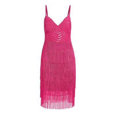 Boston Proper - Embellished Fringe Dress - Azalea Pink - 0
