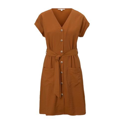 TOM TAILOR DENIM Damen Kleid im Utility-Stil, braun, Gr.L