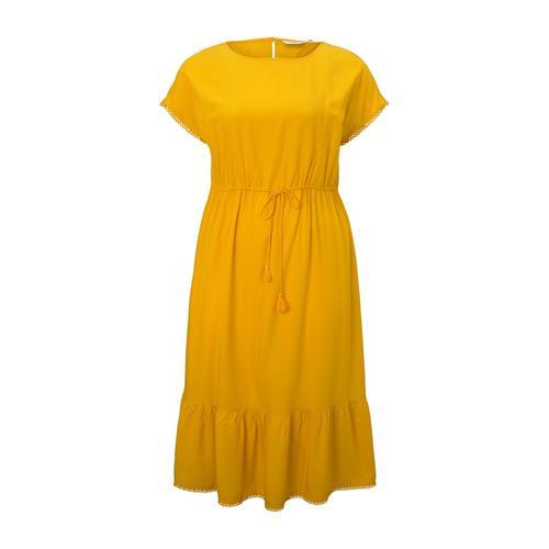 TOM TAILOR MY TRUE ME Damen Curvy - Sommerliches Kleid mit Häkel-Details, gelb, Gr.46