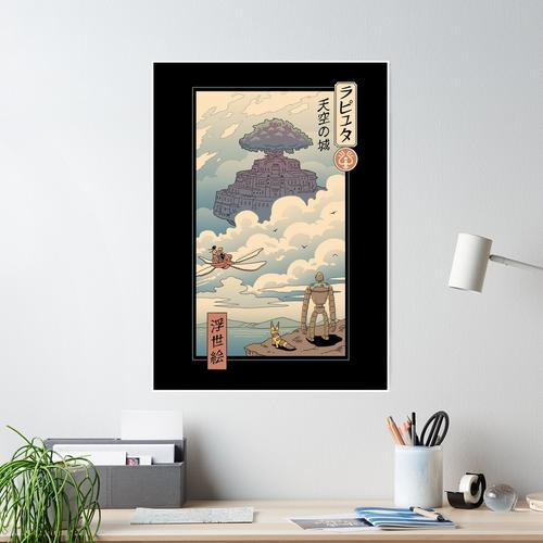 Sky Castle Ukiyo e Poster