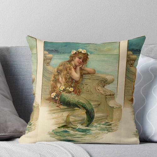 Junge Meerjungfrau der Weinlese von einer Badesalzanzeige Kissen