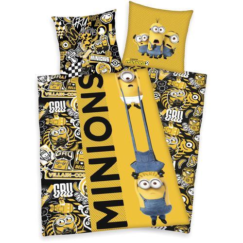 Minions Kinderbettwäsche Minions2, mit tollem Minions2-Motiv gelb Bettwäsche 135x200 cm nach Größe Bettwäsche, Bettlaken und Betttücher