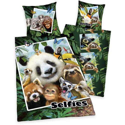 Kinderbettwäsche Selfies Dschungeltiere, mit tollem Dschungeltier-Motiv bunt Bettwäsche-Sets Bettwäsche, Bettlaken und Betttücher