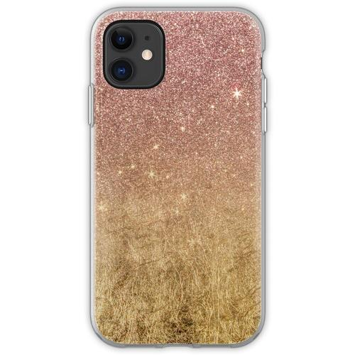 Rosa Rose Gold Glitter und Goldfolie Mesh Flexible Hülle für iPhone 11