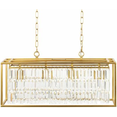 """Squires 14.5""""H x 30""""W x 8""""D Modern Clear/Translucent/Gold Ceiling Light - Hauteloom"""