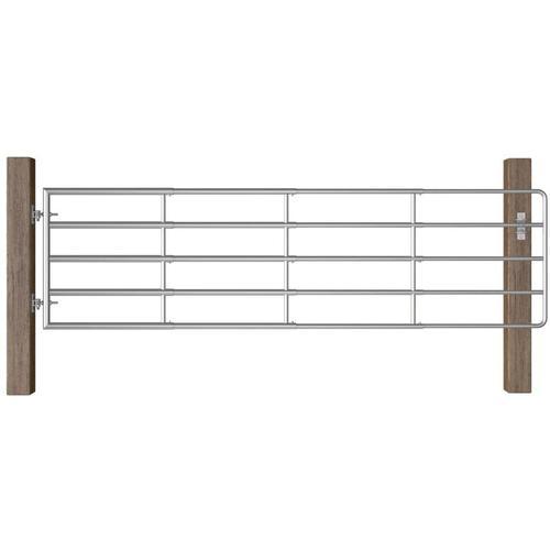5-Rohre-Weidetor Stahl (115-300)×90 cm Silbern
