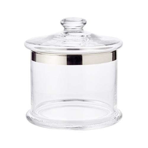 Bonboniere Erik, mundgeblasenes Kristallglas mit Platinrand, Höhe 16 cm, Durchmesser 15 cm