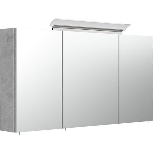 Spiegelschrank 120cm inkl. Design LED-Lampe und Glasböden beton