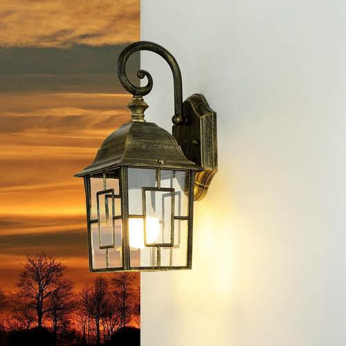 Rustikale Außen Wandlampe FRIESEN Gold Antik E27 IP23