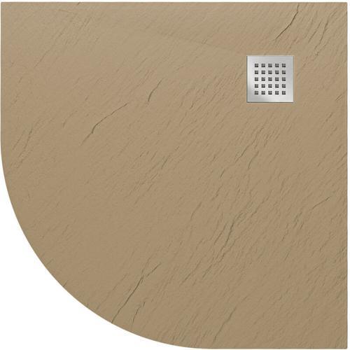 Duschwanne 90x90x2,6 CM Halbrund Taubengrau Stein-Effekt Mod. Blend