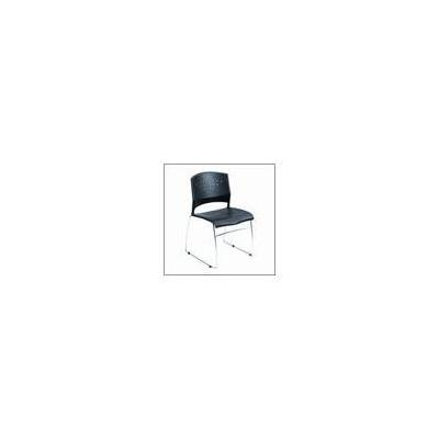 Boss Office Products Fully Assembled Black Plastic Stack Chair - Set of 2