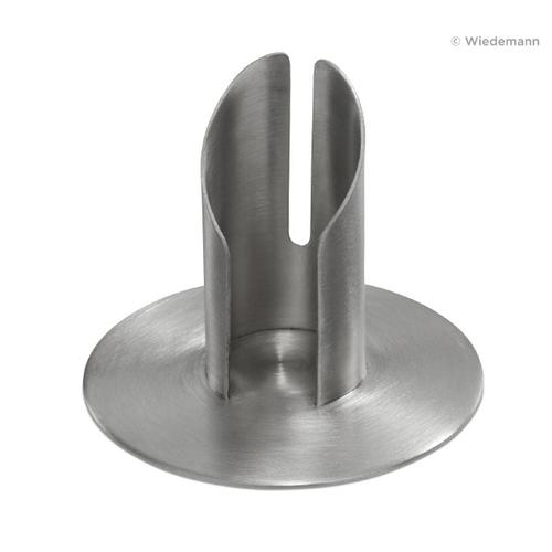 Röhren Kommunionkerzenhalter mit Schlitz, Silber matt gebürstet für Ø 10 cm für Kommunionkerzen