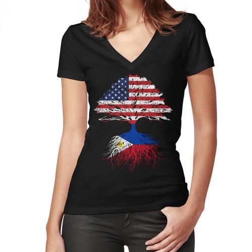 Filipino Roots, Filipino American, Filipino Grown, Philippines USA Fl Women's Fitted V-Neck T-Shirt