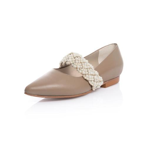 Alba Moda, Ballerina aus hochwertigem Leder, beige