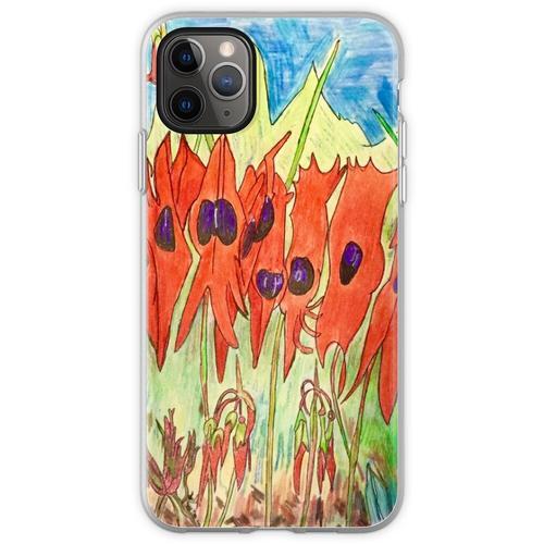 64. Desert Pea und Känguruhpfote Flexible Hülle für iPhone 11 Pro Max