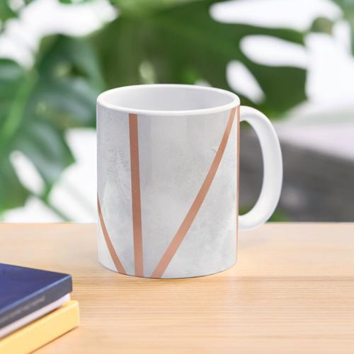 White & Copper Geo Mug