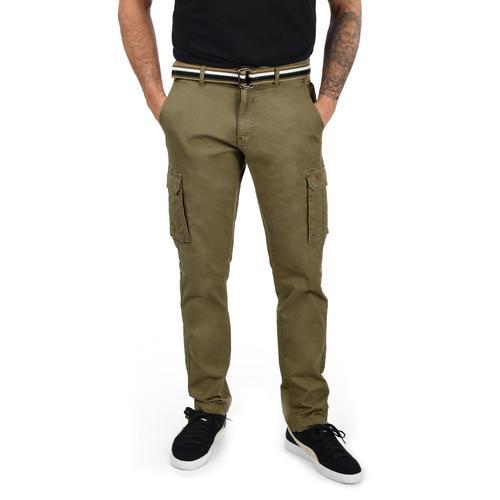 Blend Cargohose Brutus, (mit Gürtel), lange Hose mit Seitentaschen und Gürtel grün Herren Cargohosen Hosen