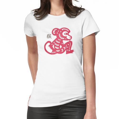 Chinesisches Papier-Schnitt-Jahr des Affen Frauen T-Shirt
