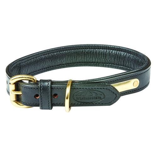 WeatherBeeta Hunde-Halsband Leder Hundehalsband Gepolstert, Textil, (1 St.) schwarz Hundehalsbänder Hund Tierbedarf