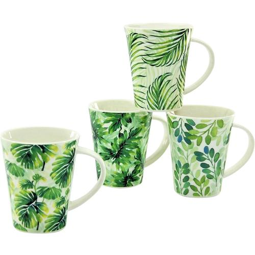 CreaTable Becher Tropical, (Set, 4 tlg.), tropische Blattmotive, 4-teilig grün Tassen Geschirr, Porzellan Tischaccessoires Haushaltswaren