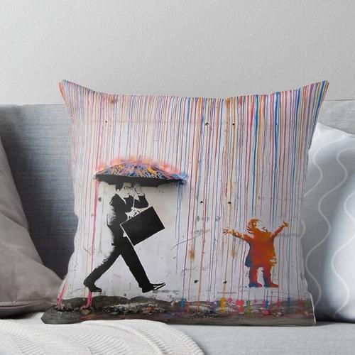 Regenbogen und Regenschirm Kissen