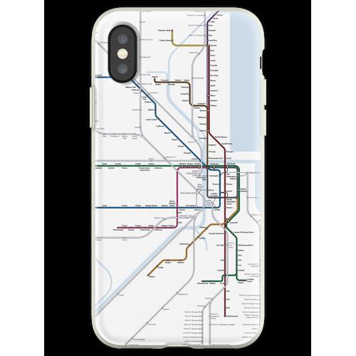 Chicago Eisenbahnkarte Flexible Hülle für iPhone XS