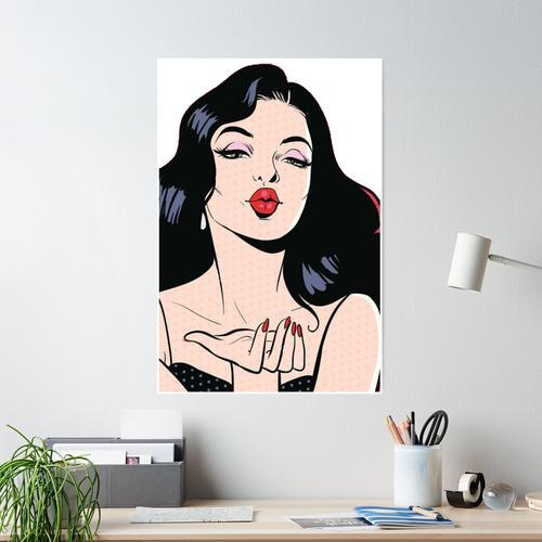 Pop-Art-Frau im roten Lippenstift-Kuss Poster