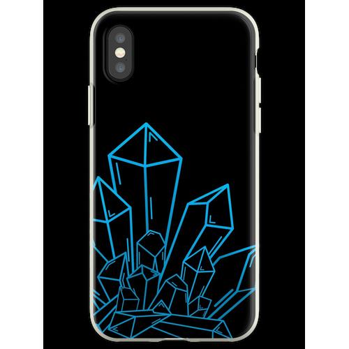 Blauer Kristallblock Auf Schwarzem Flexible Hülle für iPhone XS