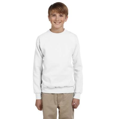 Hanes P360 Youth 7.8 oz. ComfortBlend EcoSmart 50/50 Fleece Crew T-Shirt in White size Small | Cotton Polyester