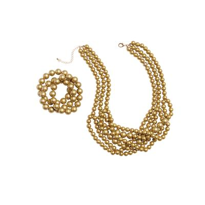 Plus Size Women's Beaded Necklace and Bracelet Set by Jessica London in Gold