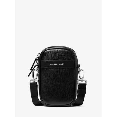 Michael Kors Greyson Pebbled Leather Smartphone Crossbody Bag Black One Size