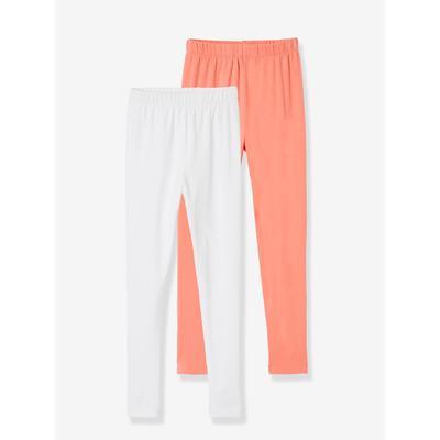 Lot de 2 leggings assortis fille lot de 2 : corail + blanc