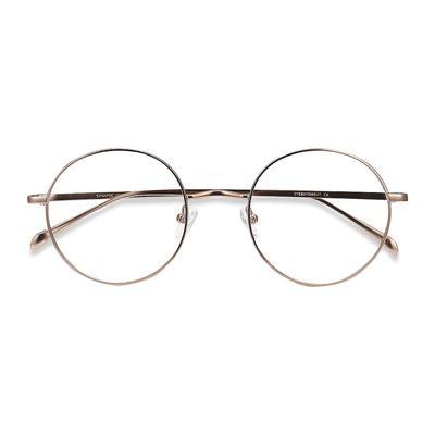 Unisex Round Rose Gold Metal Prescription eyeglasses - EyeBuydirect's Synapse